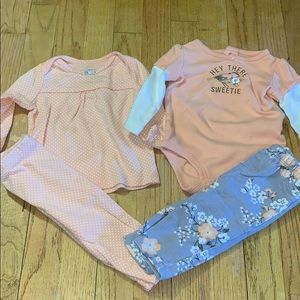 Baby Girls Carter's Matching Outfit Bundle